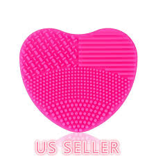 details about makeup brush cleaner heart shape scrubber cosmetic cleaning silicone foundation