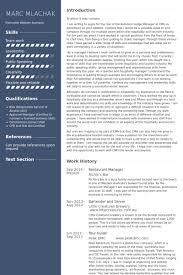 Restaurant Manager Resume Samples Visualcv Resume Samples Database