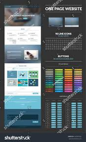 Iconic Website Design One Page Website Design Template All Stock Vector Royalty
