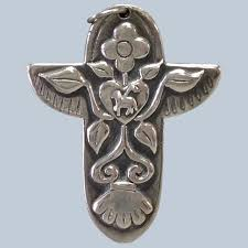 """James Avery Cross with Lamb Sterling 1 7/8"""" : Antiques Of River Oaks 