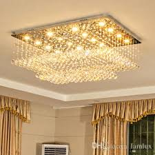 high end led crystal ceiling chandeliers modern creative rectangle led chandelier lighting pendent lamps for living room villa hotel hall