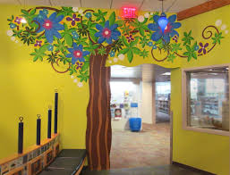 tree mural children library furniture
