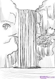 How To Draw A Waterfall Step 6 Artwork In 2019 Waterfall Sketch