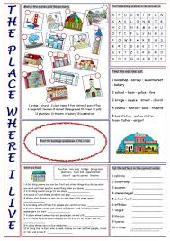 Vocab Building Worksheets The Place Where I Live Vocabulary Exercises English Esl