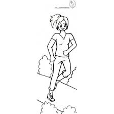 Small Picture Coloring Page of Girl running in the park for coloring for kids
