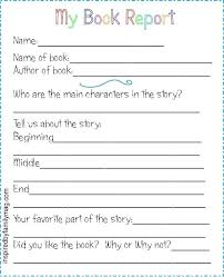 Book Report Templates Middle School Free Printable Book Report Template