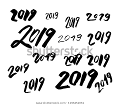2019 Number Many Styles Hand Written Stock Illustration 1193451031