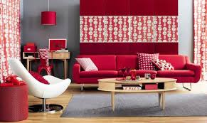 red and white furniture. red white and grey dotted living room furniture