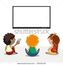 boy watching tv clipart. kids watching tv, blank screen, vector illustration boy tv clipart
