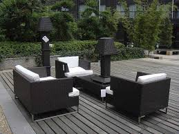 awesome lighting design for modern patio furniture on modular floor and fresh plants growth