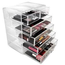 sorbus cosmetics makeup and jewelry big storage case display 4 large and 2 small drawers