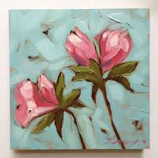 flower painting pink azalea flowers 4x4 inch impressionistic original oil painting of flowers flower paintings flower art
