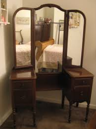 custom brown stained teak wood three fold mirror with turned legs and open shelf also 4 antique black bedroom furniture