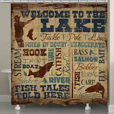 cabin shower curtain brilliant decoration laural home welcome to the lake shower curtain in brown