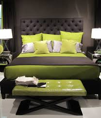 black and white and green bedroom. Black Wooden Bed With Gray And Lime Green Bedding Set Also Bench In The Dark White Bedroom