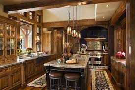 rustic kitchens with islands. Luxurious Rustic U-shaped Kitchen With Natural Wood Throughout. Kitchens Islands U