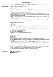 Survey Assistant Resume Samples Velvet Jobs