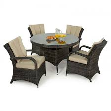 maze rattan texas 4 seat rattan dining set 74cm round table