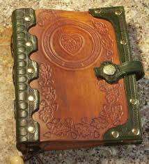 custom made handcrafted antiqued green brown leather blank book with oak leaf tooling