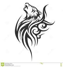 Progettazioni Tribali Del Lupo Del Tatuaggio Illustrazione