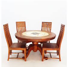 tdiset004 4 seater tdtc004 round dining table wood with stone kotak dimention d120 xh80 tch035