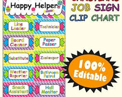 Classroom Jobs Chart Classroom Job Chart Etsy