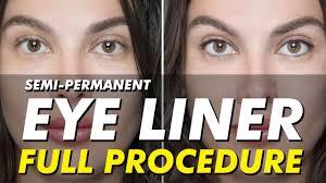 semi permanent eyeliner tattoo permanent makeup before after full procedure eye design ny