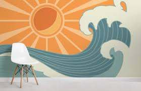 vintage surf wallpaper mural