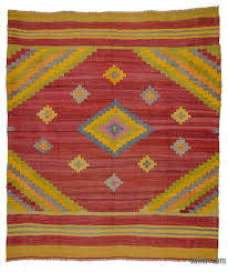 k0027289 red vintage mihalic kilim rug red blue kilim rug