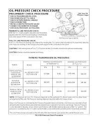 4l60e Apply Chart Oil Pressure Check Procedure Preliminary Check Procedure