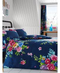 alice fl king size duvet cover and pillowcase set navy and pink