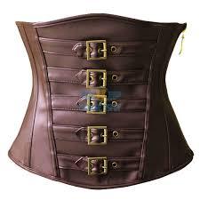 classic y brown leather victorian steampunk zip buckles underbust corset cf5305 brown