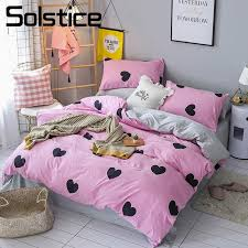 solstice home textile 3 bedding set girl kid teen bed linen heart pink duvet cover pillowcase gray sheet single double size pink bedding sets brown bedding