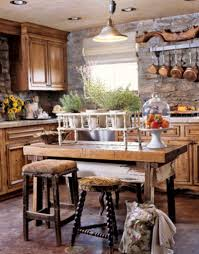 Red country kitchen decorating ideas Angels4peace Rustic Kitchen Decoration Sets With Stone Kitchen Wall And Wooden Countertop Kitchen Island Also Small Kitchen Design Glass Door Kitchen Cabinet And Wooden Countertop