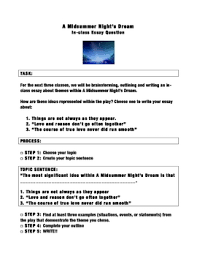 a midsummer night s dream essay assignment essay structure at the end of a midsummer night s dream i have my students evaluate prevalent themes in the play and we then analyze five paragraph essay structure