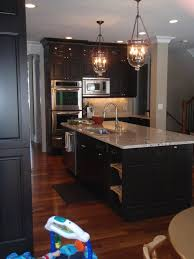 Kitchen Cabinet Espresso Color Ashen White Granite Chocolate Cabinets Same Lighting As Model
