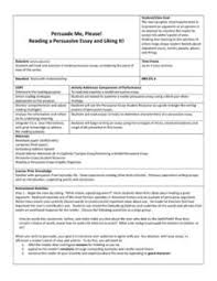 persuade me please reading a persuasive essay and liking it th  reading a persuasive essay and liking it lesson plan