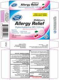 Children S Chewable Benadryl Dosage Chart Allergy Relief Childrens Diphenhydramine Hcl Tablet