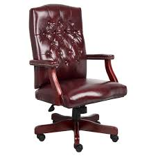 classic office chair. Classic Executive Oxblood Vinyl Chair With Mahogany Finish Burgundy (Red) - Boss Office Products