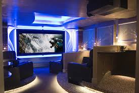 lighting ideas ceiling basement media room. Fine Looking Black Faux Leather Couch With Wide Screen Tv As Well Blue Ceiling Lights Decorate Basement Video Game Room Ideas Lighting Media