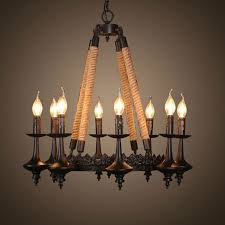 8 light iron built matte black vintage rope chandelier dk 8121 d8