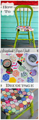 decoupage ideas for furniture. How To Decoupage Furniture In A Quilt Pattern With Scrapbook Paper. Also, This Chair Was Painted 2 Ounces Of DIY Paint! Ideas For M