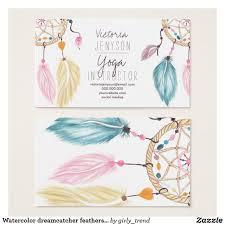 Dream Catcher Card Designs Watercolor Dreamcatcher Feathers Yoga Instructor Business