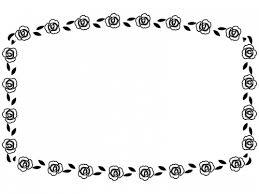 バラの花の白黒フレーム飾り枠イラスト 無料イラスト かわいいフリー