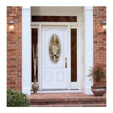 white front door with glass. Breathtaking Decoration For Your House Using White Entry Door : Astonishing Brown Bricks Stoned Wall Front With Glass O