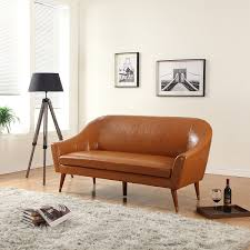 mid century leather sofa. Beautiful Leather Amazoncom Divano Roma Furniture  Mid Century Modern Sofa Bonded Leather  Kitchen U0026 Dining Intended Leather U