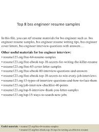 Top 8 Bss Engineer Resume Samples