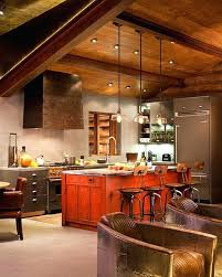 rustic cabin kitchen design with vaulted ceiling lighting of triple pendant lamps over island shades ceramic