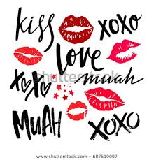 handwritten grunge brush lettering with red woman lips vector lipstick kisses isolated on white background