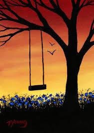 1059x1499 tree swing modern folk art print of todd young painting last days